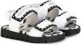 Roberto Cavalli studded touch strap sandals - kids - Leather/Pig Leather/metal/rubber - 22