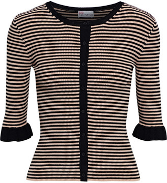 RED Valentino Ruffle-trimmed Striped Ribbed-knit Top
