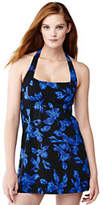Lands' End Women's Petite Beach Living Dresskini Swimsuit Top-Black Tossed Blossoms