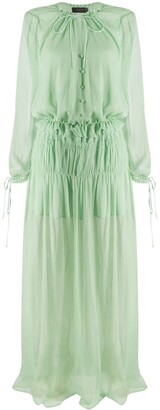 Amiri Ruffle-Trimmed Silk Dress