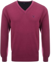 Gant V Neck Double Faced Jumper Purple