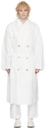 Maison Margiela Off-White Nylon Double-Breasted Coat