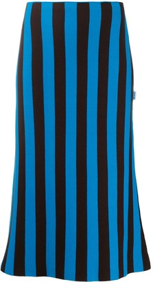 Sunnei Striped Cotton Midi Skirt