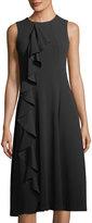 Neiman Marcus Sleeveless Asymmetric Ruffle Midi Dress
