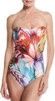 Gottex Spring Embrace Floral-Print One-Piece Bandeau Swimsuit