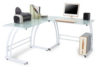 Symple Stuff Corner Credenza Glass L-Shape Writing Desk Symple Stuff