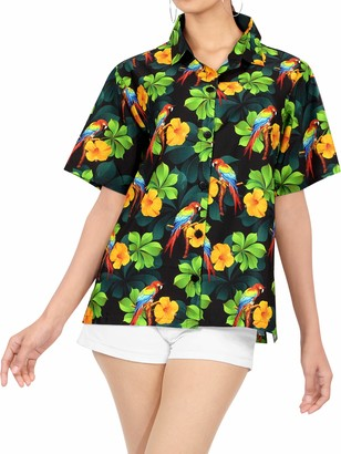 LA LEELA 3D Printed Women's Hawaiian Shirt Blouse Top Short Sleeve Casual Button up Work Beach Party Collar Office Aloha S-UK Size:14-18 Halloween Black_X186