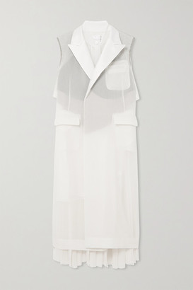 Sacai Tie-neck Pleated Cotton-blend Volie, Crepe And Chiffon Midi Dress - Ecru