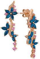LeVian Le Vian Multi-Sapphire (4 ct. t.w.) & Diamond (1/10 ct. t.w.) Drop Earrings in 14k Rose Gold