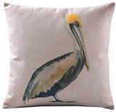 CoolDream Home Decor Sofa Cotton Linen Pelicans Throw Pillow Cover