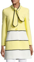 Moschino Ribbed Colorblock Topper Coat, Yellow/White