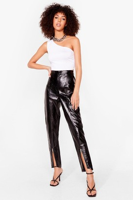 Nasty Gal Womens Our Zips Are Sealed High-Waisted Vinyl Trousers - Black - 14