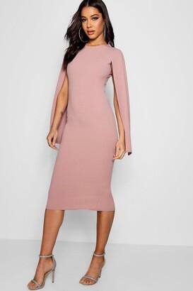 boohoo Cape Sleeve Bodycon Midi Dress