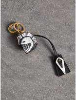 Burberry Pallas Helmet Motif Leather Key Charm with Padlock