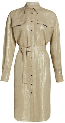 Brunello Cucinelli Metallic Linen Belted Shirtdress