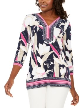 JM Collection Petite 3/4-Sleeve Embellished Top, Created for Macy's