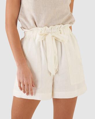 Amelius - Women's White Shorts - Sahara Linen Shorts - Size One Size, 6 at The Iconic