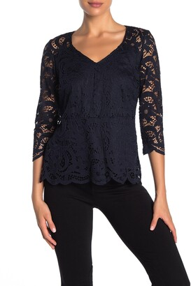 Nanette Lepore Lace V-Neck 3/4 Sleeve Scalloped Top