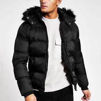 Schott black padded faux fur hood jacket