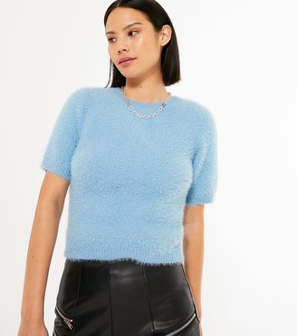 New Look Short Sleeve Fluffy Knit Top
