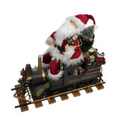 Asstd National Brand 22 Statuesque Santa Express Train Figurine On Wooden Railroad Track Base