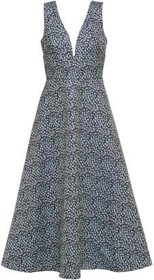 ML Monique Lhuillier Metallic Jacquard Midi Dress