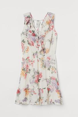 H&M Short Flounced Dress - White