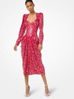 Michael Kors Embroidered Crepe Sable Draped Dress