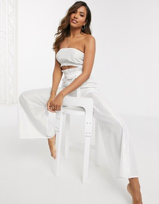 ASOS DESIGN metallic paper bag waist belted beach pants two-piece in white and silver