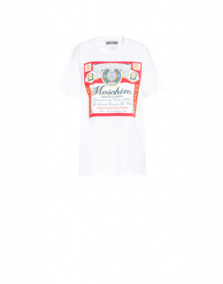 Moschino Budweiser Label T-shirt Woman White Size L It