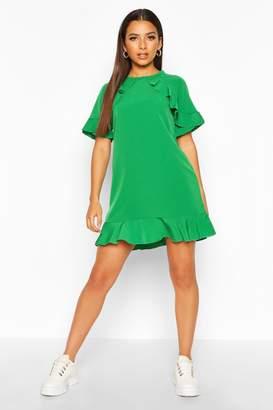 boohoo Ruffle Detail Sleeve & Hem Shift Dress