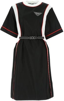 Prada Belted Panel T-Shirt Dress