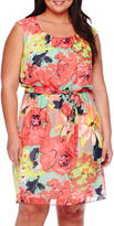 Robbie Bee Cap-Sleeve Belted Floral Chiffon Blouson Dress - Plus