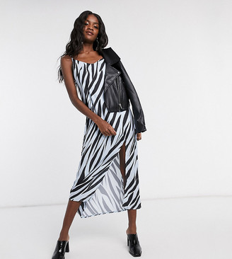 Another Reason maxi slip dress in tiger print with split