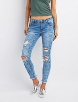 Charlotte Russe Machine Jeans Marble Destroyed Skinny Jeans