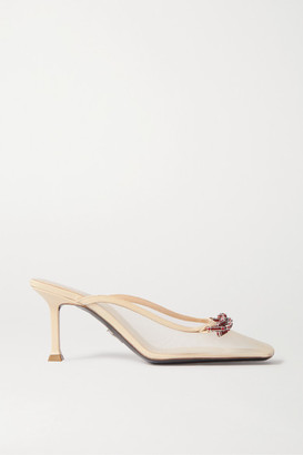Cesare Paciotti Crystal-embellished Mesh And Leather Mules - Beige