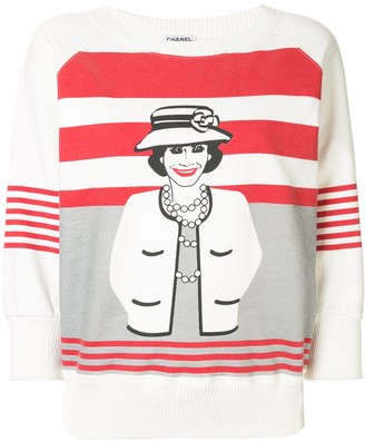 Chanel Pre Owned Mademoiselle print striped sweatshirt
