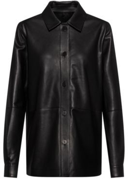 HUGO BOSS - Regular Fit Blouse In Smooth Leather - Black