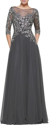 Marsoni By Colors Metallic Lace & Chiffon A-Line Evening Gown