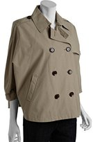 tan cotton blend cropped double breasted trench style cape