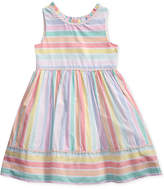 Sweet Heart Rose Rainbow Striped Dress, Toddler Girls