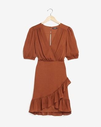 Express Satin Ruched Wrap Front Ruffle Dress