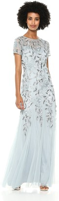 Adrianna Papell Women's Floral Beaded Godet Long Dress