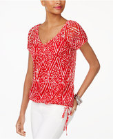 INC International Concepts Petite Printed Tie-Hem Top, Created for Macy's