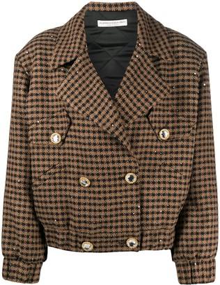 Alessandra Rich Sequin Houndstooth Bomber Jacket