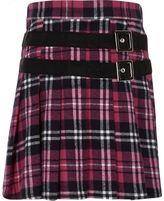 River Island Girls Pink tartan buckle pleated kilt skirt