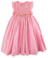 Luli & Me Sleeveless Embroidered Smocked Poplin Sundress, Pink, Size 2-4T