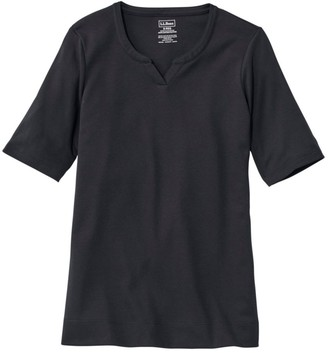 L.L. Bean Women's Pima Cotton Tee, Notch-Neck Elbow-Sleeve Tunic