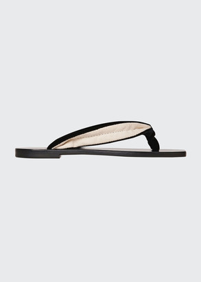 The Row Swan Velvet Square-Toe Thong Sandals