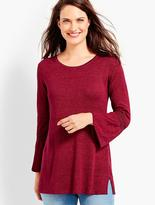 Talbots Flounce-Sleeve Linen Sweater